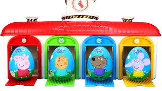 Surprise Eggs Tayo Little Bus Garage Parking Playset for Kids with Peppa Pig Surprise Eggs and Toys