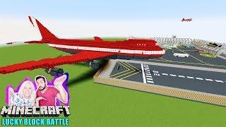 FLUGHAFEN LUCKY BLOCK BATTLE auf riesigem Flugzeug! Minecraft Airport Map - Kaan kämpft gegen Ghast