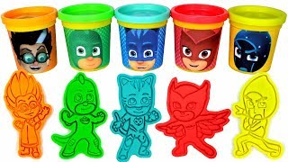 PJ Masks Play Doh Can Heads & Play Doh Molds | PJ Masks Drawing with Surprise Toys for Kids