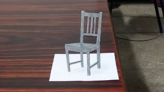Drawing 3D Chair - Optical Illusiion