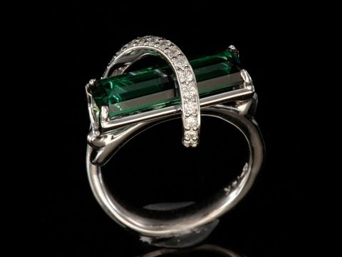 Blue Green Tourmaline Ring With Ideal Cut Diamonds