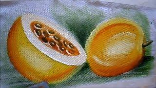 Pintando maracujá em tecido