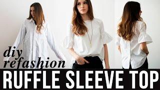 DIY Ruffle Sleeve Top Refashion From Dress Shirt
