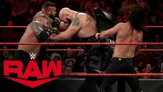 """The World's Largest Athlete returns to action to help Kevin Owens & Samoa Joe take on the self-proclaimed """"Monday Night Messiah"""" Seth Rollins & The AOP.   #WWE #RAW  GET YOUR 1st MONTH of WWE NETWORK for FREE: http://wwe.yt/wwenetwork --------------------------------------------------------------------- Follow WWE on YouTube for more exciting action! --------------------------------------------------------------------- Subscribe to WWE on YouTube: http://wwe.yt/ Check out WWE.com for news and updates: http://goo.gl/akf0J4 Watch WWE on Sony in India: http://www.sonypicturessportsnetwork.com/sports-details/18/wwe Find the latest Superstar gear at WWEShop: http://shop.wwe.com --------------------------------------------- Check out our other channels! --------------------------------------------- The Bella Twins: https://www.youtube.com/thebellatwins UpUpDownDown: https://www.youtube.com/upupdowndown WWEMusic: https://www.youtube.com/wwemusic Total Divas: https://www.youtube.com/wwetotaldivas ------------------------------------ WWE on Social Media ------------------------------------ Twitter: https://twitter.com/wwe Facebook: https://www.facebook.com/wwe Instagram: https://www.instagram.com/wwe/ Reddit: https://www.reddit.com/user/RealWWE Giphy: https://giphy.com/wwe ------------------------------------ WWE Podcasts ------------------------------------ After the Bell with Corey Graves: http://bit.ly/afterthebellpodcast The New Day: Feel the Power: https://link.chtbl.com/7Fp6uOqk"""