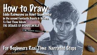 How to Draw Newt Scamander - Eddie Redmayne in the new Fantastic Beasts Movie