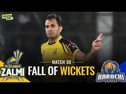 PSL 2019 Match 30: Peshawar Zalmi vs Karachi Kings | CALTEX Fall of Wickets