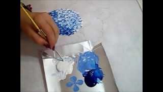 Hortênsia Azul – Pintura em Tecido – Um método diferente