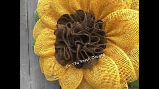 DIY Ruffled Burlap Flower Center Using A Thread Pull Method.  EASY