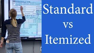Standard deduction vs Itemized Deductions.  When to use Itemized vs Standard Deductions 1040, 1040SR