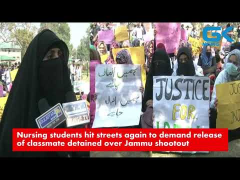 Nursing students hit streets again to demand release of classmate detained over Jammu shootout