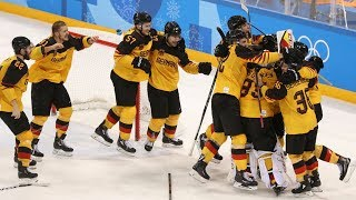 Germany defeats the two-time Olympic Canadian hockey champion in the semifinals.