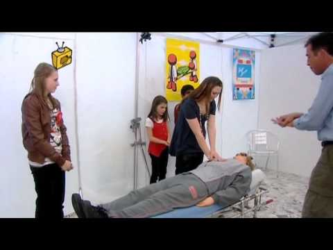 mannequin-man performming as a CPR Dummy: The Tricky TV team have set up a life saving course in a shopping centre to demonstrate resuscitation techniques (CPR) to the general public. for Foundation TV on 09/05/2010