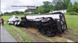 18-wheeler collides with car