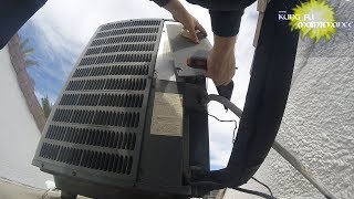 Air Conditioner Easy Trick To Reset Sometimes Stubborn Goodman Condenser Service Panels Easier