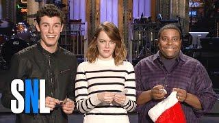 SNL Host Emma Stone Shawn Mendes And Kenan Thompson Play Secret Santa