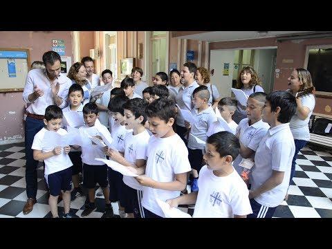 Alumnos del Hogar San Miguel cantaron villancicos navideños en el Palacio Municipal