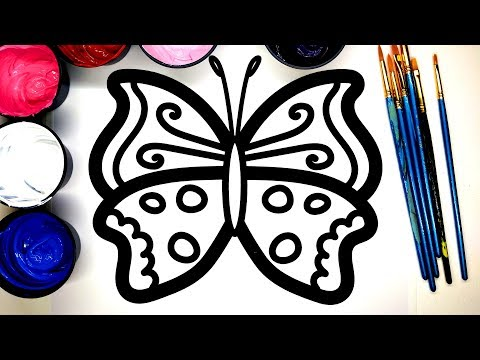 Painting Cool Colors Butterfly Painting Pages, Art for Kids, Learn to Color with Paint