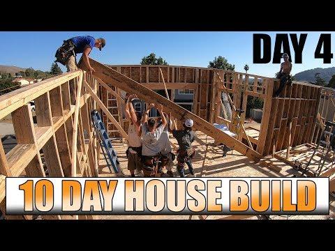 10 Day House Build: Day 4 - Framing Exterior Walls & Setting Beams