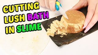 CUTTING LUSH BATH PRODUCTS IN CLEAR SLIME, super satisfying! Slimeatory #531