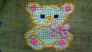 Hand Embroidery : Cross Stitch Embroidery : Animal Pattern ( Cat )