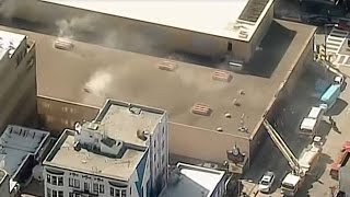 PG&E OUTAGE: Raw helicopter video of smoky fire at PG&E Substation on Larkin Street In San Francisco