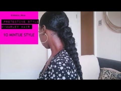 Sleek Braided ponytail protective style | w/ Marley hair