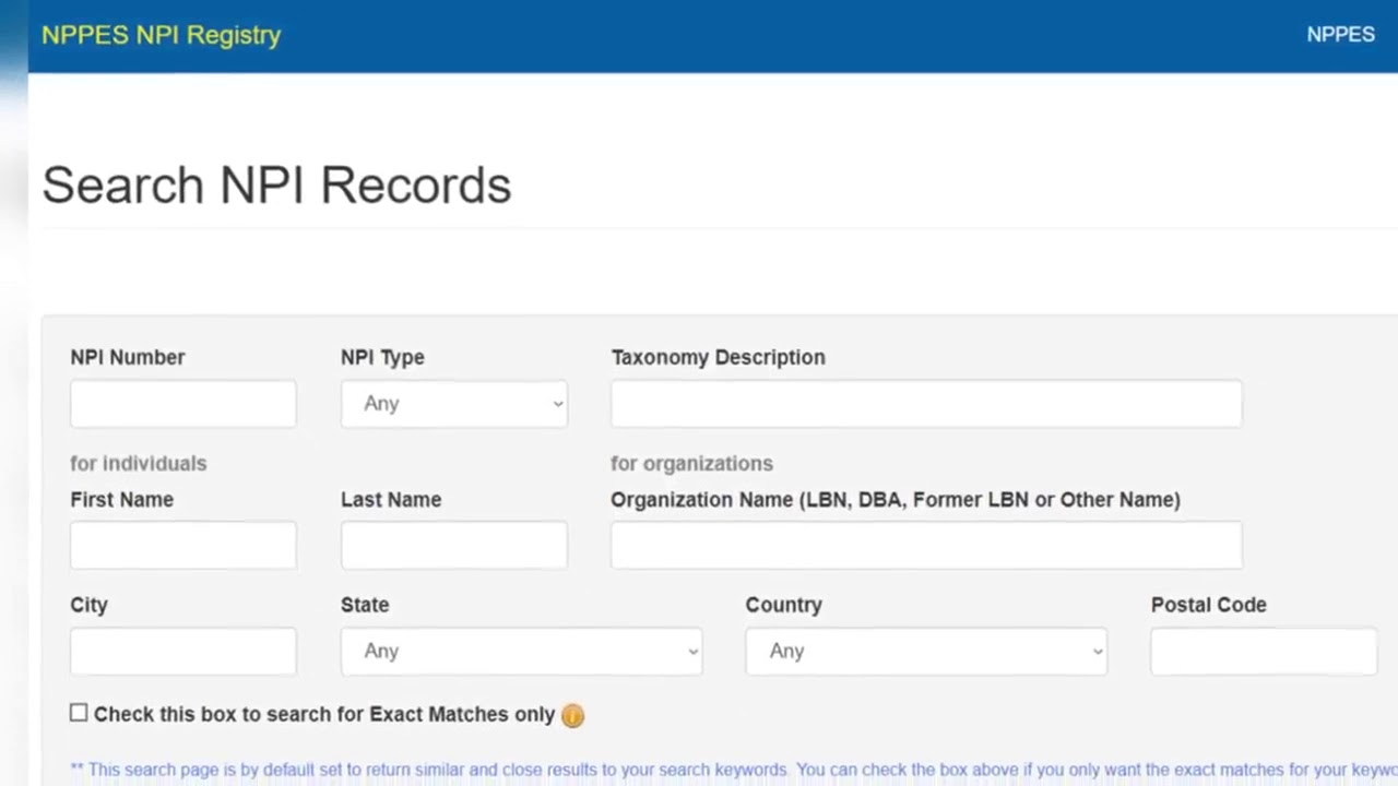 Search in the NPI registry