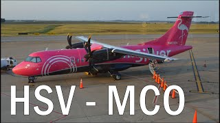 Full Flight from Huntsville to Orlando on a Silver Airways Turboprop ATR-42