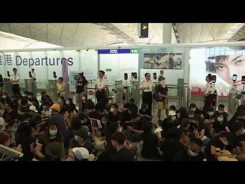 Hong Kong's airport has cancelled all remaining departing flights for the second day after protesters took over the terminals. (Aug. 13)