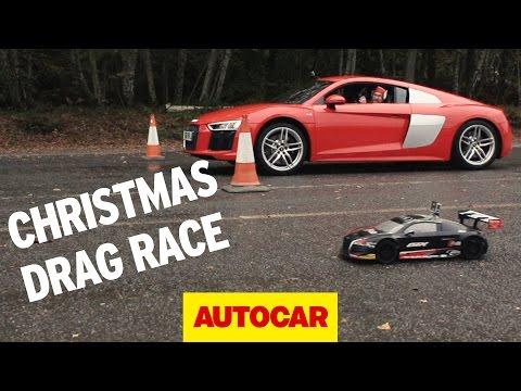 Drag Race Special | Audi R8 V10 versus R/C Audi R8 | Autocar
