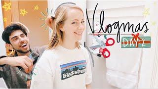 BOYFRIEND CUTS MY HAIR, ART EXHIBIT, & EASING ANXIETY || Vlogmas Day 2