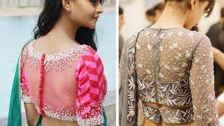 60 Ultimate Sheer Net Blouses 2020 || Sheer Saree Blouse Designs ||Designer Netted Work Blouse Ideas