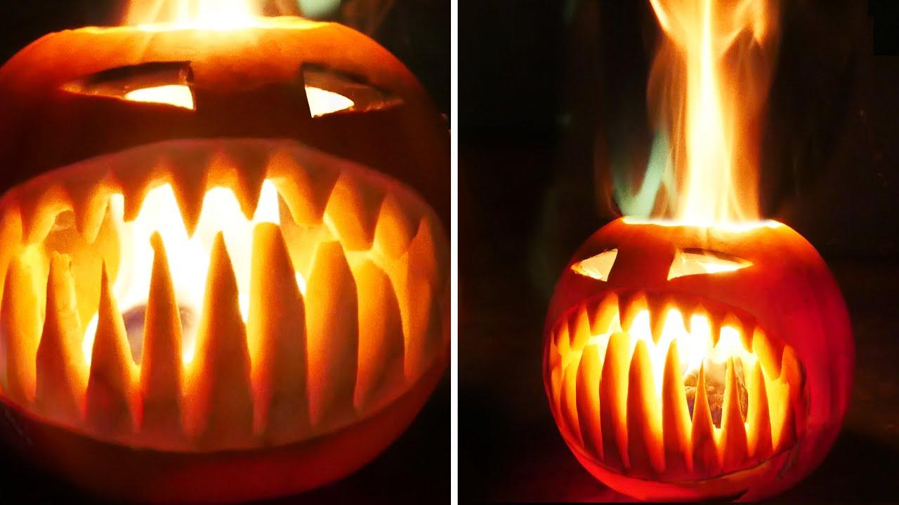 Flaming Halloween Pumpkin with Fangs thumbnail