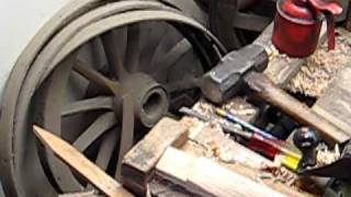 preview picture of video 'Wheelwright, wheelwrighting, spoking wooden wheels, driving spokes, fitting spokes'