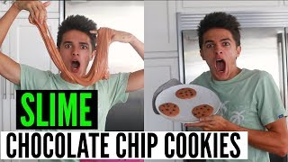 Making Chocolate Chip Cookies out of SLIME! *DIY | Brent Rivera