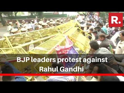 BJP Leaders Protest Against Rahul Gandhi Following Supreme Court's Rafale Contempt Case Verdict