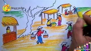 Vẽ tranh đề tài Cuộc sống quanh em - Chợ quê