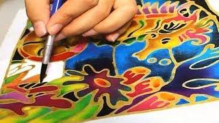 Gambar cover Batik Painting - How to Paint Seahorse with Batik Felt Frame