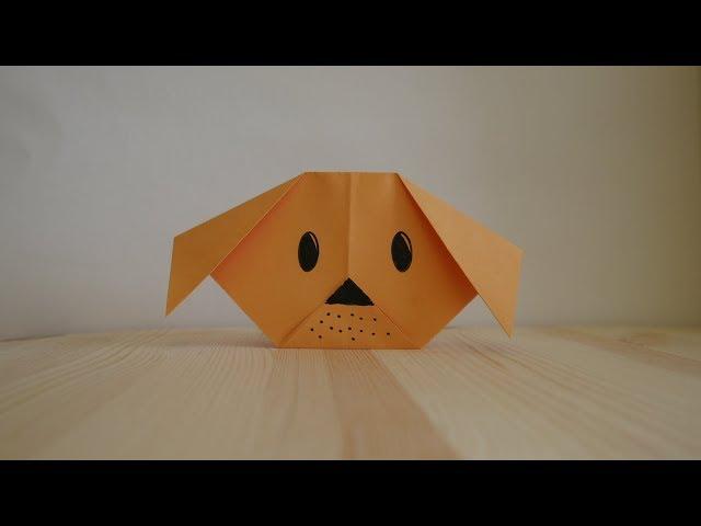 Оригами. Как сделать щенка из бумаги (видео урок)