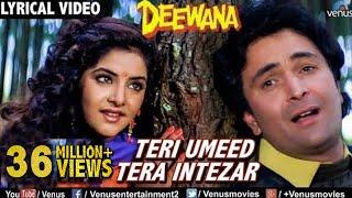 Teri Umeed Tera Intezar - LYRICAL VIDEO | Deewana | Rishi