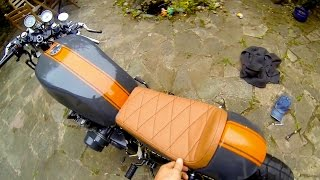 Cafe Racer Build Part 11, how to fit a cafe racer seat, 78 Suzuki GS550