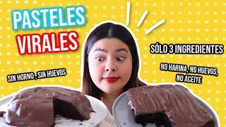 PROBANDO los 2 PASTELES VIRALES de Chocolate sin huevos, azúcar, EN EL MICROONDAS!! |RebeO