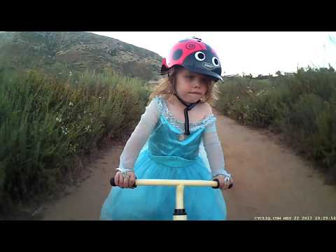 3 Year old Practicing her drafting skills on the local trails