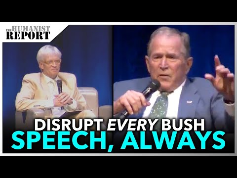 George W. Bush Visibly Rattled as SECOND Speech Gets Disrupted in a Week
