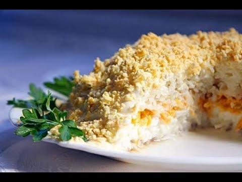 Праздничный салат из рыбных консервов