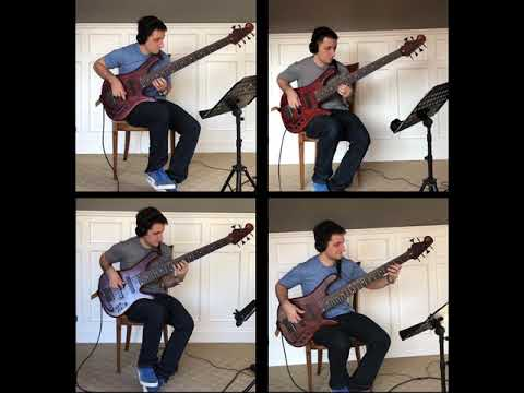 """Bach, """"The art of the fugue,"""" Contrapunctus 4. Arranged by me for four basses."""