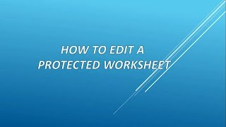How to edit/unlock a protected Excel sheet without password (No software required)