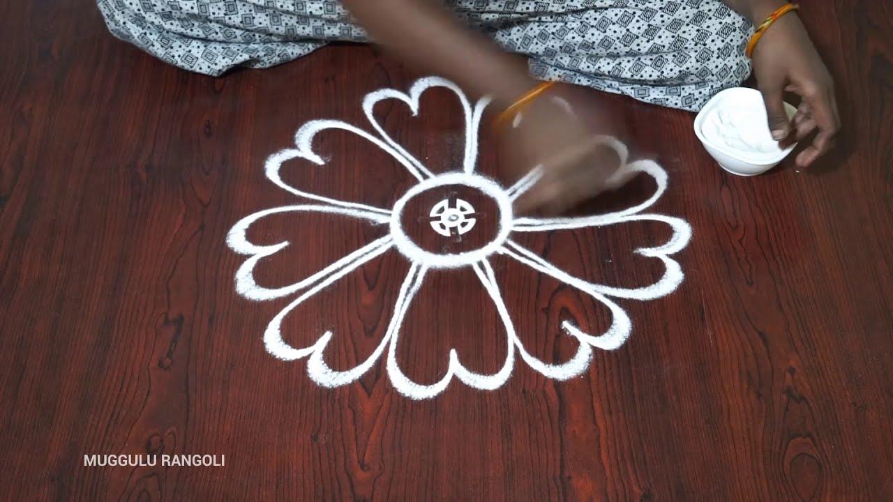 freehand muggulu festival rangoli design by dheepiika