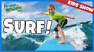 Kids get SURFING lessons in HAWAII | River and Wilder Show