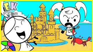 Kids Family Fun Day at the Beach building Sand Castles | EK doodles Animation